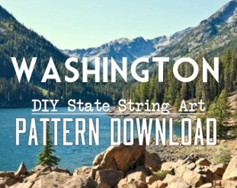 "Washington - DIY State String Art Pattern - 10"" x 7"" - Hearts & Stars included!"