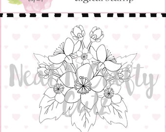 apple  blossom bunch digital Stamp For scrapbooking and paper crafting