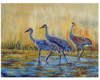 Sandhill Cranes Birds Fine Art Original Oil Painting On Canvas Board 12 x 16  Home Decor