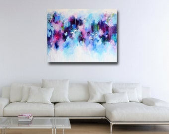 Large Canvas Art, Wall Art, Pink and Blue Abstract Print, Giclee Print, Large Painting Print, Large Canvas Art,  Modern