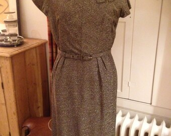 Gorgeous late 50's / early 60's bronze lurex dress