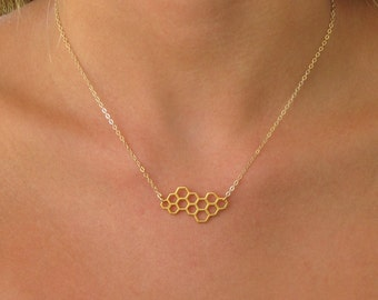 Gold Honeycomb Necklace - Honeycomb Jewelry - Silver Honeycomb Necklace - Bee Keeper Necklace