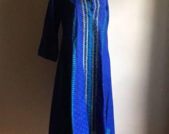 Blue Indian Vintage Tunic Dress