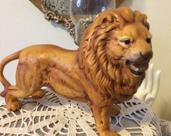 Vintage 50s Mid Century Modern Ceramic Lion Decor Figurine Home Decor Gift  For Her Him