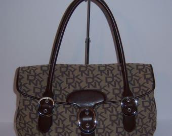 Vintage DKNY Chocolate Brown Taupe Jacquard Leather Logo Satchel Dr. Speedy Bag Purse Handbag Hand Bag Tote