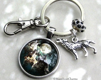 Wolf Keychain Howling Wolf Silver Purse Charm Clip On Key Ring Wolf Full Moon Twilight Sky Black Crystal Keychain Gift For #K1156
