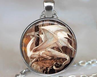 White Dragon necklace, Snow Dragon jewelry dragon jewellery dragon art pendant fantasy art jewelry key chain key ring key fob keyring