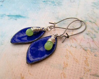 Boho earrings  blue enamel earrings petal shape dangle earrings Bohemian jewelry