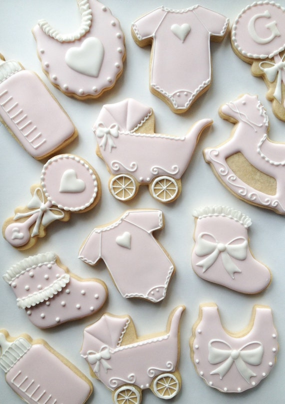 Pink And White Decorated Baby Cookies One Dozen Decorated