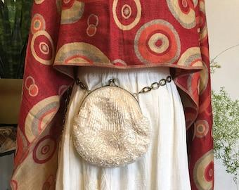 Beaded Hip Bag // Hip Bag Belt // White Beaded Bag // Gold Chain Belt // Upcycle
