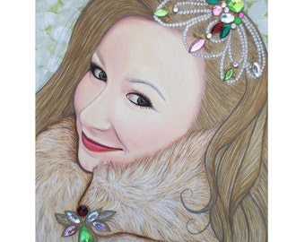 Bejeweled Beauties - Imogen Grant - Mixed Media Art - ART PRINT - 8 x 10 - By Toronto Portrait Artist Malinda Prudhomme