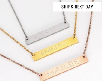 Custom Necklace, Personalized Name Bar Necklace, Name Necklace, Personalized Necklace, Name Plate Necklace,NamePlate Necklace, Birthday Gift