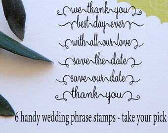 Beautifully Written Wedding Phrase Olive Wood Stamps - Choice of 6