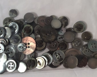 Lot of dark grey Mother of Pearl Buttons - assorted sizes