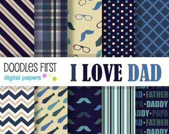 I Love Dad Digital Paper Pack Includes 10 for Scrapbooking Paper Crafts