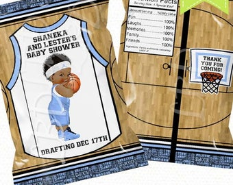 "Basketball Baby Shower Chip Bag Printable, Candy Bag, Blue Party Bags, Chip Bag | 4.5"" x 7""- YOU PRINT"