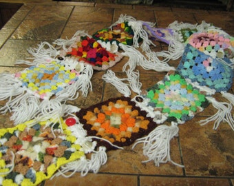 Crochet Squares scarf from Recyled  patchwork throws-Bright multi color-Button trim-New fringing