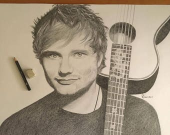 Ed Sheeran Pencil Drawing A2
