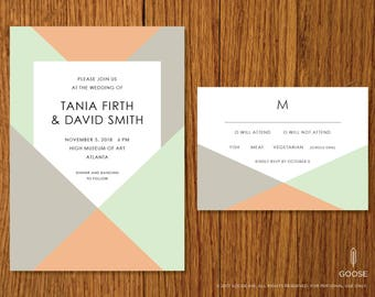 Mid Century Modern | Printable Wedding Invitation and RSVP Template | Instant Download