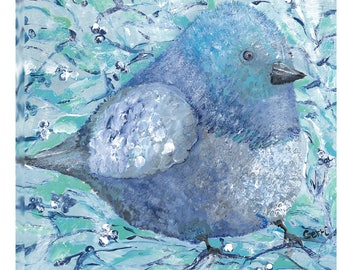 """Adorable Blue Birdie, 20 x 20"""", gallery wrapped Canvas, FREE shipping!"""