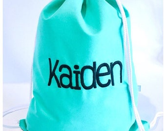 Mint Personalised Drawstring Backpack, Library bag, Daycare Backpack