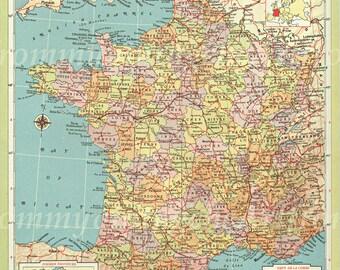 Vintage Map France 1940s
