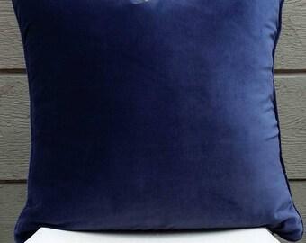 Blue Velvet Pillow Cover -  22 x 22
