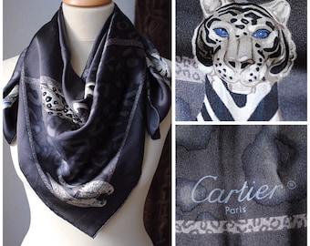 VINTAGE * CARTIER Paris Seidentuch Schal Carré * PANTHÈRE + LeOPARD * grau, schwarz, silber, blau * Seide * 100% Original