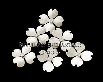 Ivory Hair Flowers, Bridal Bridesmaid Accessories, Hairpiece, Beach Wedding Gift - 6 Ivory Hazel Dogwood Flower Hair Pins - Rhinestone