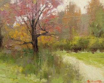 """Autumnal Westonbirt Arboretum. Small original oil painting. 8""""x10"""""""