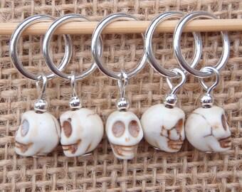 Skull stitch markers, set of five