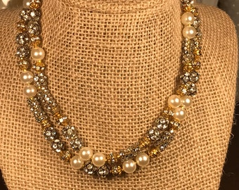 Stunning Silver And Gold Rhinestone Bead And Faux Pearl Necklace
