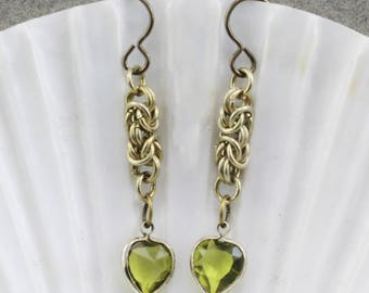 Handmade Earrings Vintage Chain Maille Peridot Vintage Lucite Chanel Hearts, Niobium Hooks Oscarcrow Original OOAK