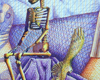 Colorful Still Life with skeleton
