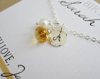 Personalized gift Happy Birthday card with November birthstone necklace Silver initial necklace November birthday gift Citrine necklace