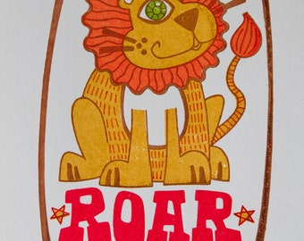 "Lion ""Roar"" Gocco Print -- Limited Edition"