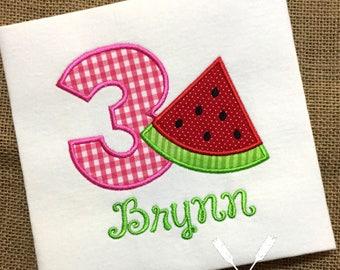 Watermelon Birthday Shirt / Watermelon Party / Summer Birthday Shirt / Watermelon Applique / Personalized Birthday Shirt / 1st Birthday