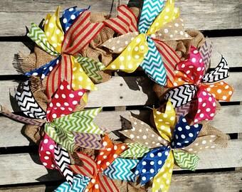 Colorful Burlap Wreath