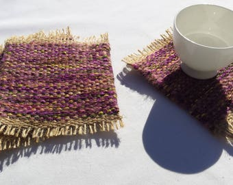 Mug Rugs, upcycled handwoven coasters, purple, violet, yellow, brown, pink and beige drink coaster gift set