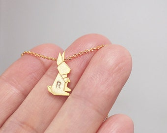 rabbit necklace, Personalized necklace, initial necklace, bunny necklace, best friend necklace, animal necklace