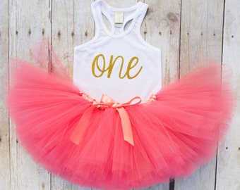 One Year Old Girl Birthday Outfit...First Birthday Girl Outfit...Tutu and Tank Top Set...Coral and Gold 1st Birthday Outfit...Baby Girl 1st