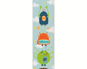 Growth Chart, Monster Growth Chart, Blue Monster Growth Chart, Custom Growth Chart, Custom Blue Growth Chart, Canvas Growth Chart