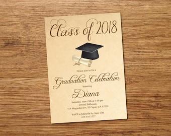 Beige Class of 2018 Graduation Invitation Card/Cap & Gown Graduation Announcement/High School Graduation Card/College Graduation