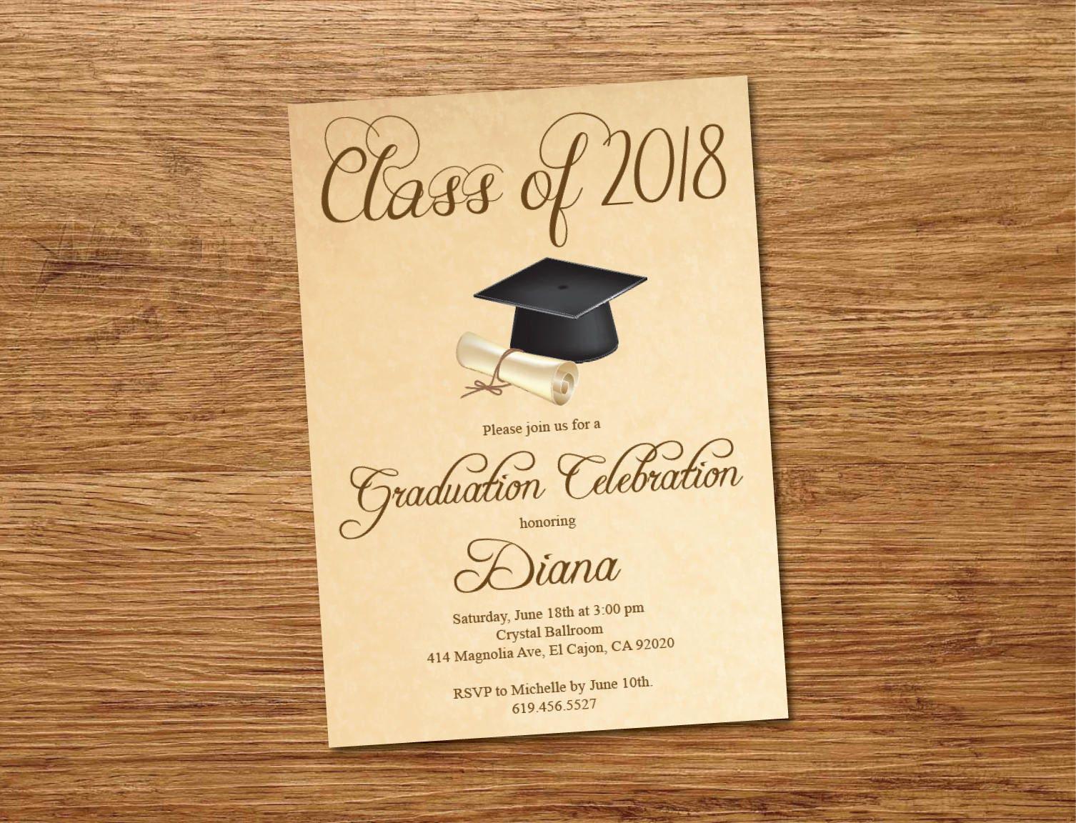 Beige Class of 2018 Graduation Invitation Card/Cap & Gown
