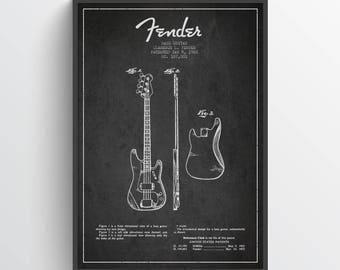 1960 Fender Bass Guitar Patent Wall Art Poster, Fender Guitar Print, Guitar Poster, Home Decor, Gift Idea, MUIN20P