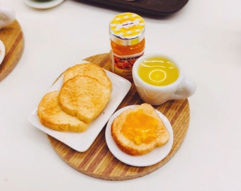 Miniature Breakfast set,Miniature Bakery,Miniature Bread,Dolls and miniature