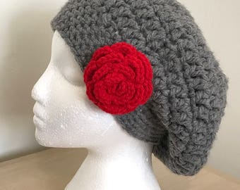 Woman's Slouchy Beret With Rose Appliqué - French Beret