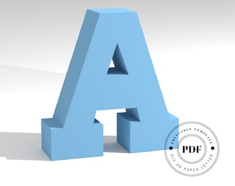 Printable DIY template (PDF).  Letter A low poly paper model template. 3D paper lettering. Origami. Papercraft. Cardboard alphabet.
