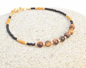 Tiger eye bracelet, Minimalist bracelet, Tiger eye jewelry, Goldenrod bracelet, Seed beads bracelet, Dainty bracelet, Gift for her