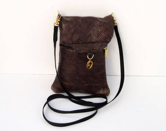 Dark Brown Snakeskin Genuine Leather, Embossed,  Extra Large Cell Phone Purse with Flap